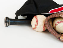 Baseball equipment with black bat Stock Photos