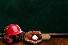 Baseball Equipment and Chalk Board Play Copy Space Stock Images