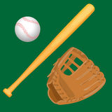Baseball equipment colorful vector flat set on white. Baseball equipment colorful vector flat collection. Isolated light brown leather glove, wooden special bat royalty free illustration