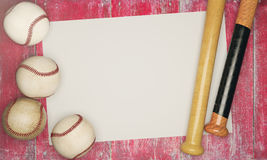 Baseball equipment and empty poster. Top view of baseballs and bats on aged red wood background with poster. Advertisement concept. Mock up, 3D Rendering Stock Photography