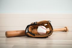 An Baseball Equipment On Floor Royalty Free Stock Images