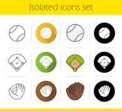 Baseball equipment icons set Stock Photo