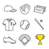 Baseball equipment linear icons set Stock Image