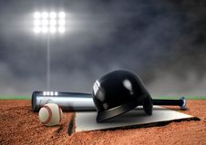 Baseball Equipment under spotlight Royalty Free Stock Image