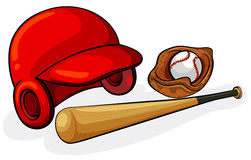 Baseball equipments. Illustration of the baseball equipments on a white background Royalty Free Stock Photo