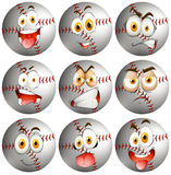 Baseball with facial expression Royalty Free Stock Photos