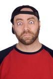 baseball fan with baseball eyes Stock Photo