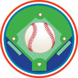 A baseball field. A vector illustration of a baseball and a baseball field Stock Images