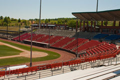 Baseball Field. And stadium seating at home plate Royalty Free Stock Photo