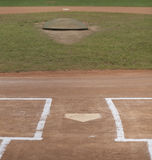 Baseball Field. Vertical image of home plate and pitcher's mound on a little league baseball field Stock Images