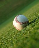 Baseball on the field. Close up of a baseball on the field Royalty Free Stock Image
