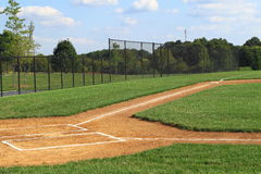 Baseball Field Batters Boxes. Empty Baseball Field Batters Boxes with Fence in Park Royalty Free Stock Photography