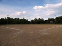 Baseball Field. With a cloudy sky Royalty Free Stock Photography