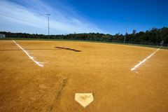 Baseball Field. With green grass and lines Royalty Free Stock Photography