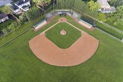 Baseball Field Aerial View. Aerial view of a Chicago suburban high school baseball field Stock Images