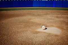 Baseball Field Background. A baseball sitting on home plate. Great sports background with lots of copy space Stock Image