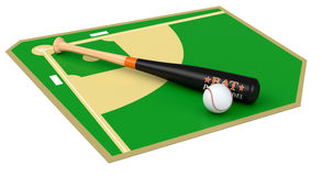 Baseball field. With bat and ball, on white background (3d render Stock Images