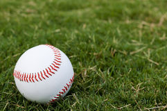 Baseball on Field Closeup Stock Photography