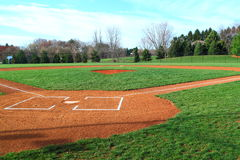 Baseball Field. Empty Baseball Field with grass in Park at sunny day Stock Photography