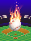 Baseball, Field, and Flame Illustration Stock Photos
