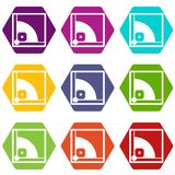 Baseball field icon set color hexahedron Stock Images