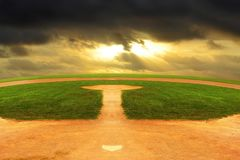 Baseball field looking out to an endless curved horizon stock photo