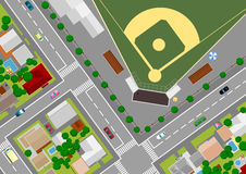Baseball field on the outskirts of Stock Photos