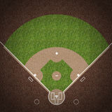 Baseball Field. An overhead view of an american baseball field with white markings painted on grass and gravel Royalty Free Stock Photo