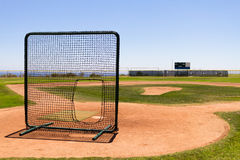 Baseball Field by the Pacific Ocean with a practice net Royalty Free Stock Photo