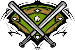 Baseball Field with Softball Bats Template vector illustration