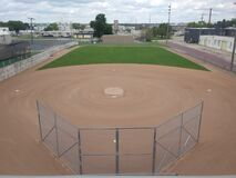 Baseball Field Stadium Seat View of Untouched Sports Baseball Diamond