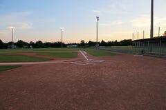 Baseball Field at Sunset Stock Photo