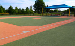 Baseball Field Third Base. Baseball field designed for handicaps or special needs, view from third base stock photos