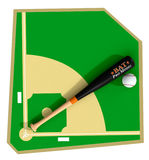 Baseball field. Top view of a baseball field with bat and ball, on white background (3d render Stock Image