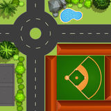 Baseball field. Topview of baseball field in the big park Stock Photography
