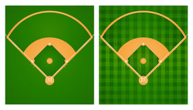 Baseball field in two lawn designs. Illustration Royalty Free Stock Photo