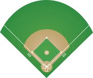 Baseball field on white background stock image