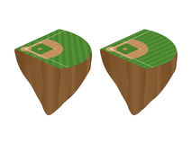 Baseball Fields with Diagonal Pattern Floating Islands Royalty Free Stock Photo