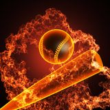 Baseball in fire. Made in 3D Stock Image