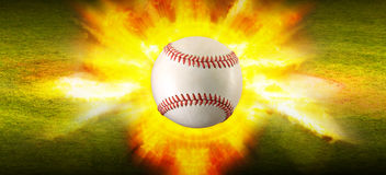 Baseball fire grass background Stock Photography