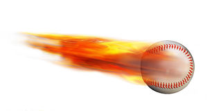 Baseball on Fire. Homerun baseball on fire flying fast Stock Photography