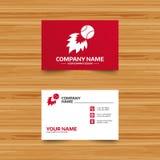 Baseball fireball sign icon. Sport symbol. Business card template. Baseball fireball sign icon. Sport symbol. Phone, globe and pointer icons. Visiting card Stock Photos