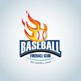 Baseball fireball sport badge logo design template and some elements for logos, badge, T-shirt  screen and printing. Royalty Free Stock Photography