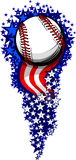 Baseball Firework With Flags And Stars Royalty Free Stock Image