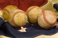 Baseball on flag bunting