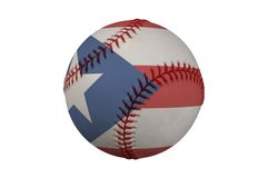 Baseball with the Flag of Puerto Rico. (clipping path Stock Images