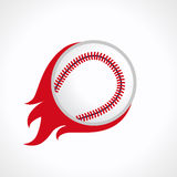 Baseball flame logo. Flying and flaming baseball ball. Fiery sign, vector logo of teams, national competitions, union, matches, leagues or sport equipment shop Stock Images