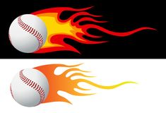 Baseball with flames. Vector illustration Royalty Free Stock Images