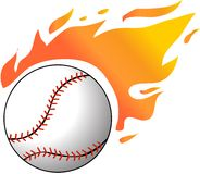 Baseball with flames Stock Images
