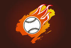 Baseball with flames. Illustration of a baseball with flames Royalty Free Stock Image